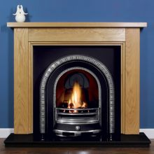 3 Step Oak Fireplace with Henley Cast Iron Arch Insert