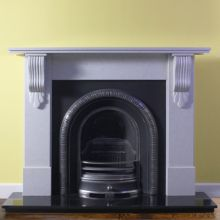 Acanthus Corbel Marble Fireplace with Henley Cast Iron Arch Insert