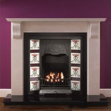 Corbel Marble Fireplace with Toulouse Tiled Cast Iron