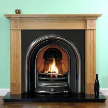 Roundel Oak Fireplace with Jubilee Cast Iron Arch Insert