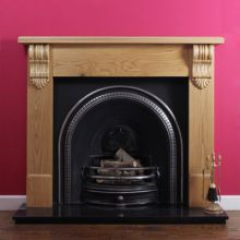 Tradition Oak Fireplace with Tradition Cast Iron Arch Insert